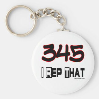 I Rep That 345 Area Code Basic Round Button Keychain