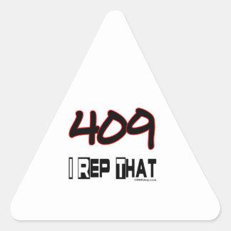 I Rep That 409 Area Code Triangle Sticker