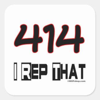 I Rep That 414 Area Code Square Sticker