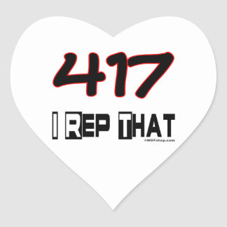 I Rep That 417 Area Code Heart Sticker
