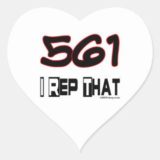 I Rep That 561 Area Code Heart Sticker