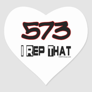 I Rep That 573 Area Code Heart Sticker