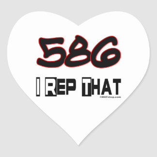 I Rep That 586 Area Code Heart Sticker