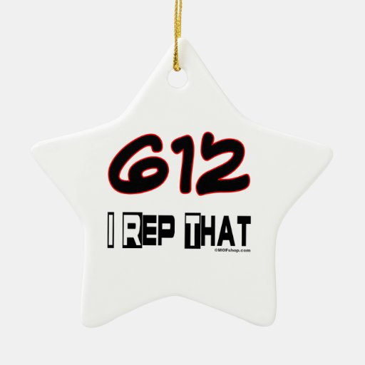 I Rep That 612 Area Code Double-Sided Star Ceramic Christmas Ornament