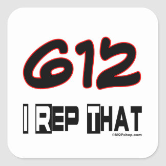 I Rep That 612 Area Code Square Stickers