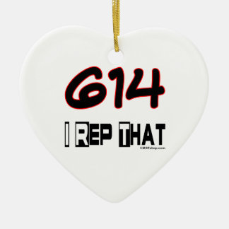 I Rep That 614 Area Code Christmas Tree Ornament