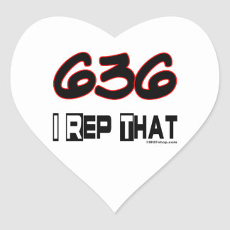 I Rep That 636 Area Code Heart Sticker