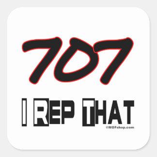 I Rep That 707 Area Code Square Sticker