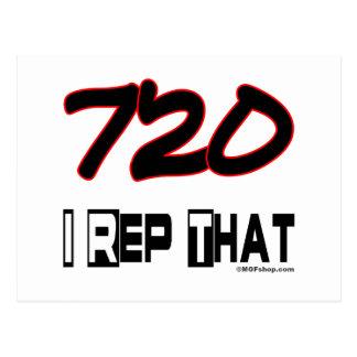 I Rep That 720 Area Code Postcard