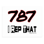 I Rep That 787 Area Code Post Card