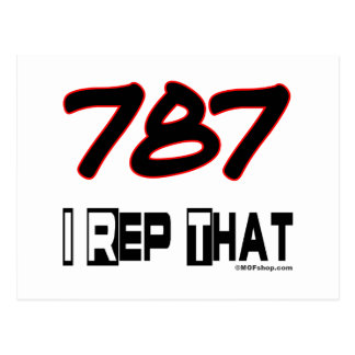 I Rep That 787 Area Code Postcard