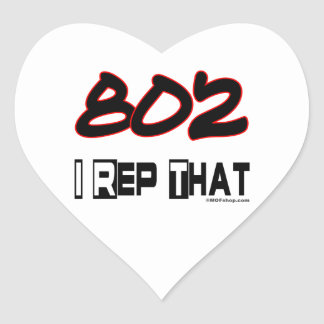 I Rep That 802 Area Code Heart Sticker