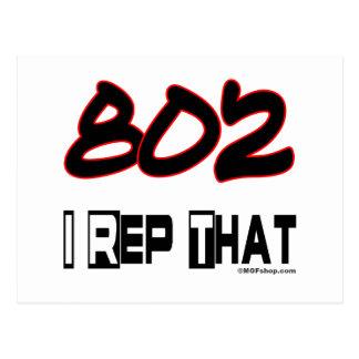 I Rep That 802 Area Code Postcard