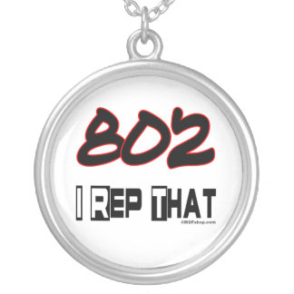 I Rep That 802 Area Code Round Pendant Necklace