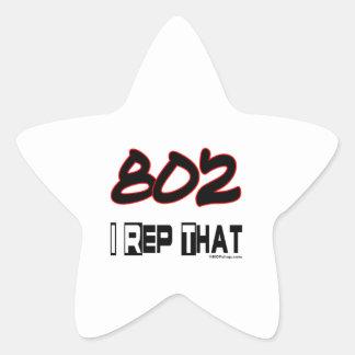 I Rep That 802 Area Code Star Sticker