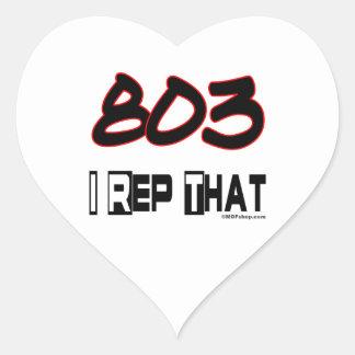 I Rep That 803 Area Code Heart Sticker