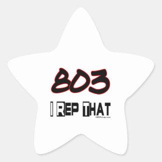 I Rep That 803 Area Code Star Sticker