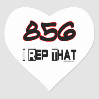 I Rep That 856 Area Code Heart Sticker