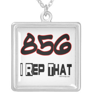 I Rep That 856 Area Code Square Pendant Necklace