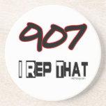 I Rep That 907 Area Code Beverage Coasters