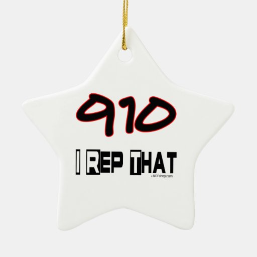 I Rep That 910 Area Code Double-Sided Star Ceramic Christmas Ornament