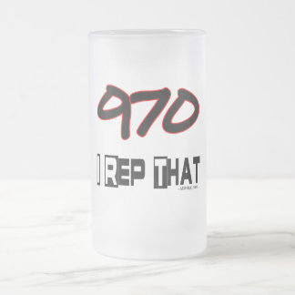 I Rep That 970 Area Code 16 Oz Frosted Glass Beer Mug