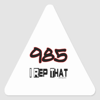 I Rep That 985 Area Code gift Triangle Sticker