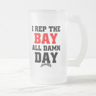 I Rep The Bay 16 Oz Frosted Glass Beer Mug