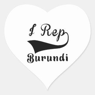 I representante Burundi Pegatina En Forma De Corazón
