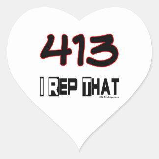 I representante ese código de área 413 pegatina en forma de corazón