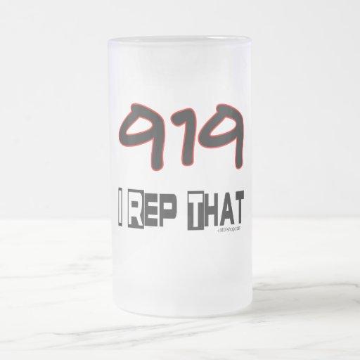 I representante ese código de área 919 taza de cristal