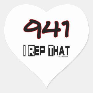 I representante ese código de área 941 pegatina en forma de corazón