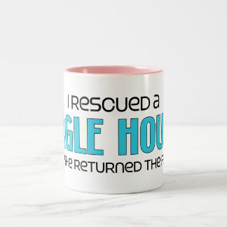 I Rescued a Bagle Hound (Female) Dog Adoption Two-Tone Coffee Mug