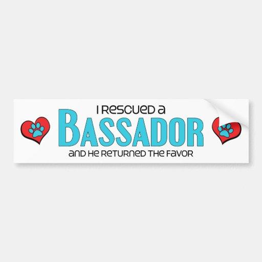 I Rescued a Bassador (Male) Dog Adoption Design Bumper Stickers