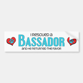 I Rescued a Bassador (Male) Dog Adoption Design Car Bumper Sticker