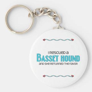 I Rescued a Basset Hound (Female Dog) Key Chain