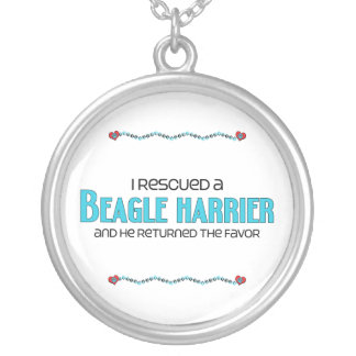 I Rescued a Beagle Harrier (Male Dog) Round Pendant Necklace