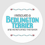 I Rescued a Bedlington Terrier (Male Dog) Classic Round Sticker