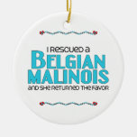 I Rescued a Belgian Malinois (Female Dog) Christmas Ornaments