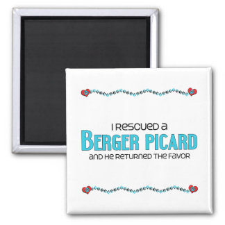I Rescued a Berger Picard (Male Dog) 2 Inch Square Magnet