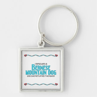 I Rescued a Bernese Mountain Dog (Female Dog) Silver-Colored Square Keychain