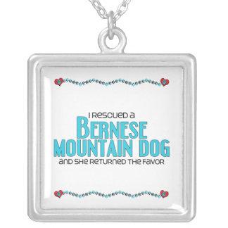I Rescued a Bernese Mountain Dog (Female Dog) Square Pendant Necklace
