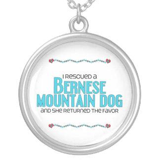 I Rescued a Bernese Mountain Dog (Female Dog) Round Pendant Necklace