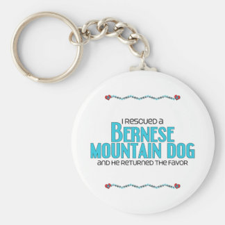 I Rescued a Bernese Mountain Dog (Male Dog) Basic Round Button Keychain