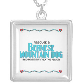 I Rescued a Bernese Mountain Dog (Male Dog) Square Pendant Necklace