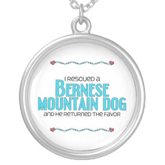 I Rescued a Bernese Mountain Dog (Male Dog) Round Pendant Necklace