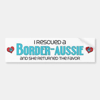 I Rescued a Border-Aussie (Female) Dog Adoption Car Bumper Sticker
