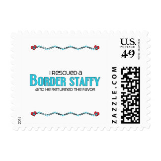 I Rescued a Border Staffy (Male) Dog Adoption Postage Stamp