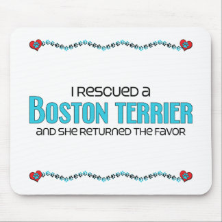 I Rescued a Boston Terrier (Female Dog) Mouse Pad