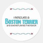 I Rescued a Boston Terrier (Female Dog) Sticker